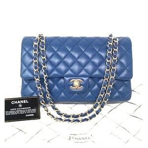 Chanel Classic Flap Bag in Blue Lambskin GHW